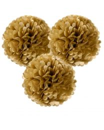 Pompoms goud L 3/pack