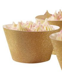Cupcake Wrappers Goud Glitter