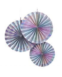 Papieren waaier/Fan Rainbow&Iridescent 3 pack