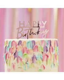 Taart topper Happy Birthday roze acryl