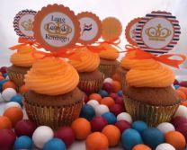 Koningsdag Cupcake toppers