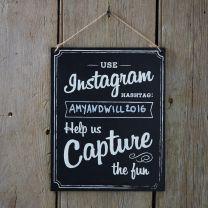 Houten Instagram hashtag bord