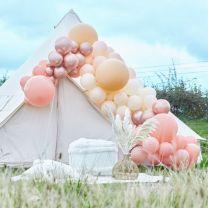 Ballonnenboog groot peach beige en rose goud chroom Ginger Ray
