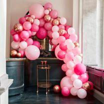 grote ballonnenboog Roze met rose goud chroom Ginger Ray