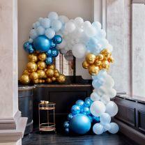 Ballonnenboog Groot Blauw en Goud Chroom