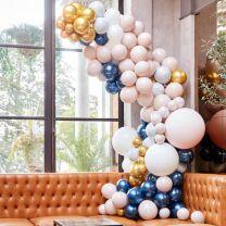 Ballonnenboog groot luxe marmer, navy, nude en goud chroom Ginger Ray