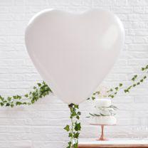 Ballonnen XL 90 cm Wit Hartvorm 3 st.