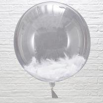 Orb ballonnen gevuld met witte veren 3 stuks