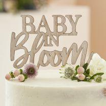 Houten babyshower taarttopper Baby in Bloom