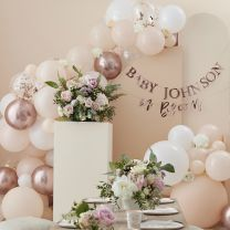 ballonnenboog peach wit en rosé goud