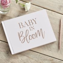 Babyshower gastenboek rosé goud en blush