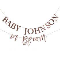 personaliseerbare babyshower slinger rosé goud