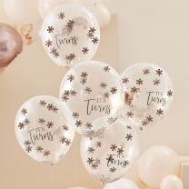 Rose gouden confetti ballonnen Twins
