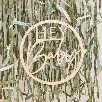 Houten hanger Hey Baby Botanical Babyshower