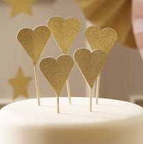 Cupcake Topper goud glitter hart