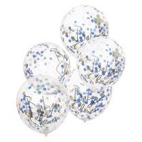 Babyshower confetti ballonnen goud navy & pink