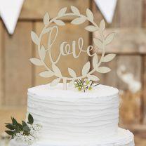 Houten taarttopper Love
