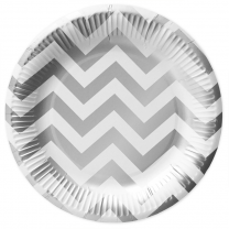 Papieren bordjes wit & zilver chevron