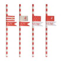 Papieren rietjes preppy flamingo met stickers