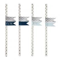 Papieren rietjes wit/zilver met stickers