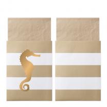 Servetten Preppy Seahorse beige met servetzakjes