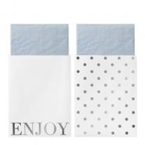 Servetten blauw met wit/zilveren servetzakjes