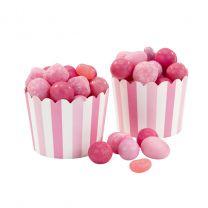 Baking Cup licht roze/ hard roze verticale streep