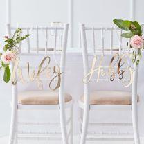 Wifey en Hubby Gouden Stoelborden