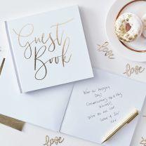 Gastenboek goud folie letters Guest Book