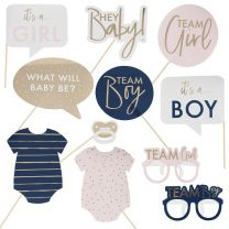Photo booth props Gender Reveal navy & pink