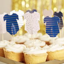 Cupcake Toppers Rompertje navy & pink