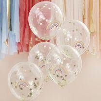 Confetti ballonnen met regenboog