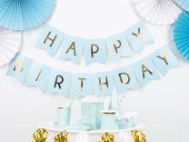 Happy Birthday Slinger Lichtblauw Goud