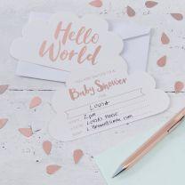 Babyshower uitnodigingen Hello World