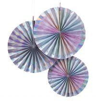 Papieren waaier/Fan Rainbow&Iridescent 3 pack