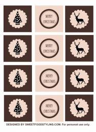 Kerst cupcake toppers rendier roze bruin