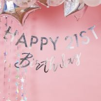 Mijlpaal Birthday slinger Iriserend