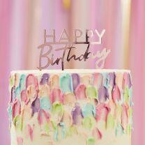 Taart topper Happy Birthday roze acryl