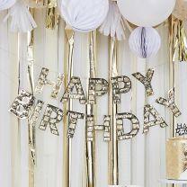 Happy Birthday slinger goud fringe