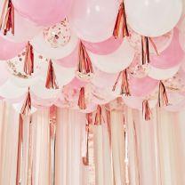 Ballonnen plafond pakket roze en rose goud