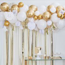 ballonnenboog roze wit rose goud met decoratie