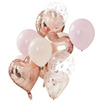 ballonnenmix blus en rose goud metallic ginger ray