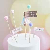 Pastel Pompom Taart Toppers