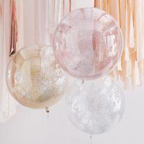 Orb glitter confetti ballonnen Metallic Mix