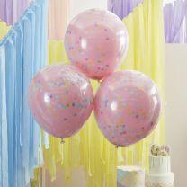 Roze ballonnen met Pastel Confetti