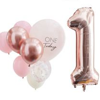 ballonnen mix set First Birthday nummer 1 rose goud en roze
