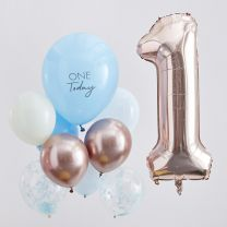 Ballonnen set One Today blauw en Rosé goud