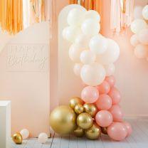 Ballonnenboog Peach en goud chroom Ginger Ray