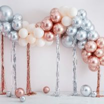 Ballonnenboog rose goud chroom en zilver chroom metallic