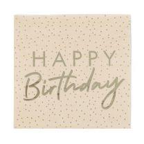 Happy Birthday servetten Peach en Goud Mix it up Ginger Ray